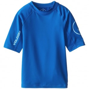 Volcom Youth Solid Short Sleeve Rash Guard - Baja Indigo