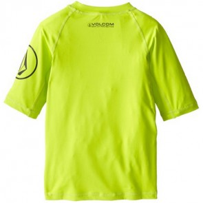 Volcom Youth Solid Short Sleeve Rash Guard - Lime